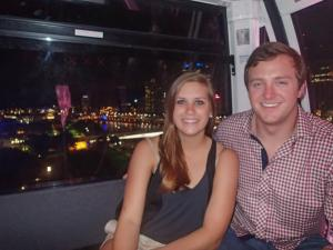 Riding the ferris wheel at night over looking Brisbane City!